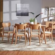 HomeVance Skagen Natural Finish Dining Table & Chair 7 pc Set