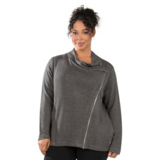 Plus Size Marika Kate Asymmetrical French Terry Jacket