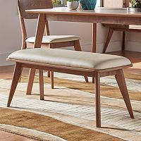 HomeVance Skagen Walnut Finish Upholstered Bench
