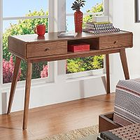 HomeVance Skagen Walnut Finish 2-Drawer Vanity Desk