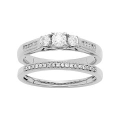 14k White Gold 1\/2 Carat T.W. IGL Certified Diamond 3-Stone Engagement Ring Set by