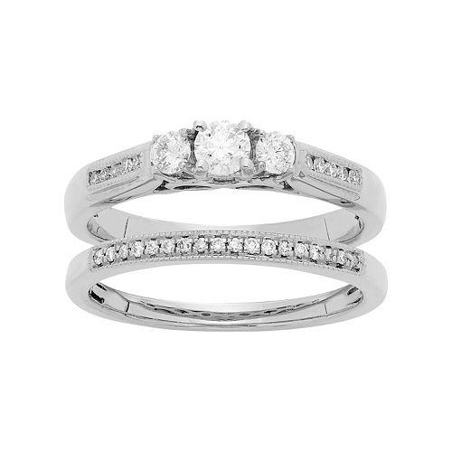 14k White Gold 1/2 Carat T.W. IGL Certified Diamond 3-Stone Engagement Ring Set