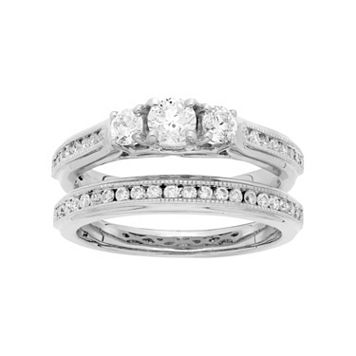 14k White Gold 1 Carat T.W. IGL Certified Diamond 3-Stone Engagement Ring Set