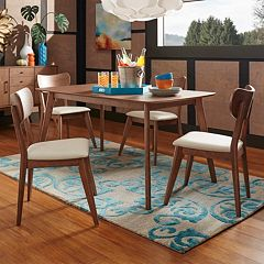 HomeVance Skagen Upholstered Walnut Finish Dining Chair 5 pc Set