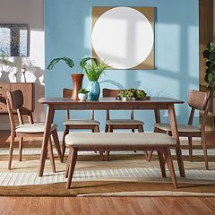 HomeVance Skagen Walnut Finish Dining Table, dining Chair & Bench 6 pc Set