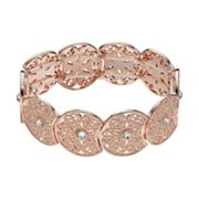 LC Lauren Conrad Rose Gold Tone Simulated Crystal Filigree Stretch Bracelet
