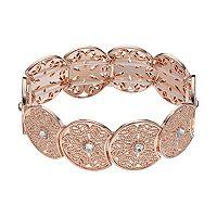 LC Lauren Conrad Rose Gold Tone Simulated Crystal Filigree Stretch Bracelet