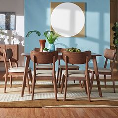 HomeVance Skagen Walnut Finish Dining Table & Chair 7 pc Set