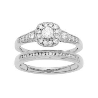 14k White Gold 1/2 Carat T.W. IGL Certified Diamond Halo Engagement Ring Set