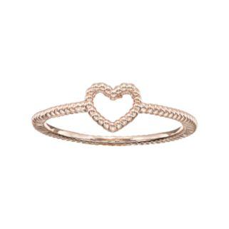 LC Lauren Conrad Openwork Heart Textured Midi Ring