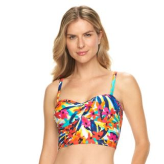 Women's Chaps Push-Up Floral Midkini Top