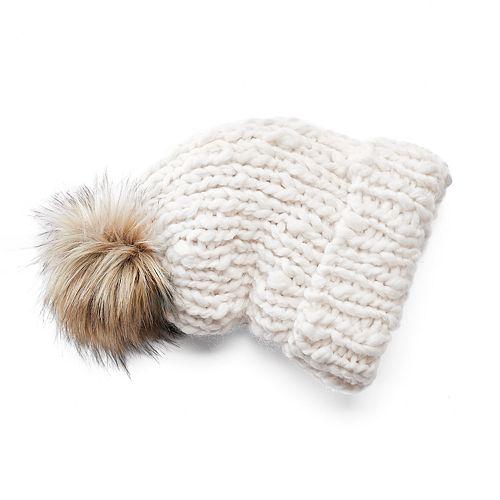 Mudd® Chunky Knit Faux-Fur Pom-Pom Hat