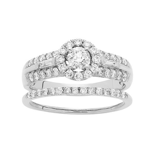 14k White Gold 1 Carat T.W. IGL Certified Diamond Halo Engagement Ring Set