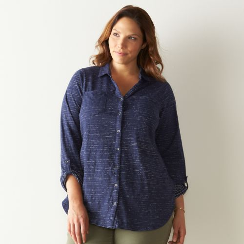 Plus Size SONOMA Goods for Life™ Button-Front Roll-Tab Shirt