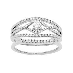 14k White Gold 1/2 Carat T.W. IGL Certified Diamond Engagement Ring Set