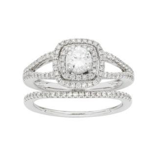 14k White Gold 1 Carat T.W. IGL Certified Diamond Square Halo Engagement Ring Set