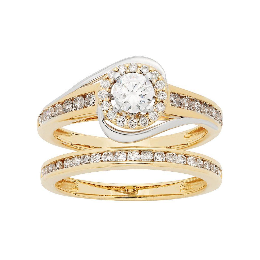 Two Tone 14k Gold 1 Carat T.W. IGL Certified Diamond Halo Engagement Ring Set