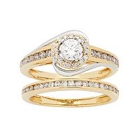 Two Tone 14k Gold 1 Carat T.W. IGL Certified Diamond Halo Engagement Ring Set