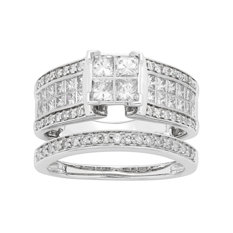 14k White Gold 1 12 Carat TW IGL Certified Diamond Square