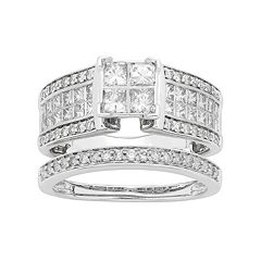 14k White Gold 1 1/2 Carat T.W. IGL Certified Diamond Square Engagement Ring Set