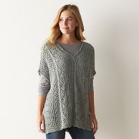 Women's SONOMA Goods for Life™ Pointelle Poncho Sweater