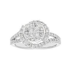 10k White Gold 1 Carat T.W. Diamond Halo Engagement Ring