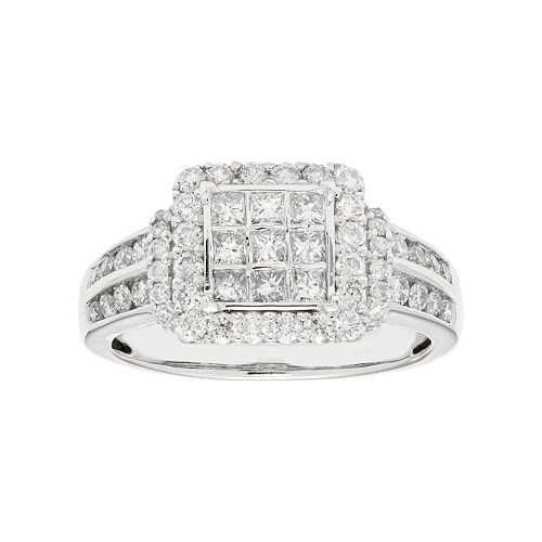 10k White Gold 1 Carat T.W. Diamond Square Halo Engagement Ring