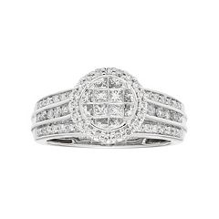 10k White Gold 1 Carat T.W. Diamond Halo Engagement Ring