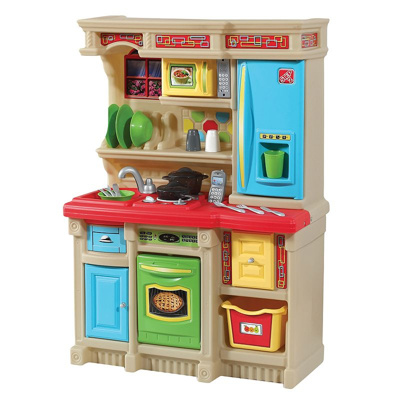 "Step2 Lifestyle Custom Kitchen Liven up your child's playroom or bedroom with this Step2 Lifestyle Custom Kitchen. Gift Givers: This item ships in its original packaging. If intended as a gift, the packaging may reveal the contents. Brightly colored cupboards, appliances, framed window & wallpaper border bring a nice ""pop"" to your child's indoor play space Microwave, stove top & phone will enhance the pretend play experience Special frying pan & boiling pot activate boiling water & electronic frying sounds on stove's front burner Storage bin, shelf & pull-out drawer are perfect for storing accessories & play food Includes: kitchen & 20-pc. accessories 41.5 H x 28 W x 14 D Age: 2 years & up Requires 4 AA & 2 AAA batteries (not included) Adult assembly required Plastic Wipe clean Manufacturer's 3-year limited warranty For warranty information please click here Model number: 834800  Size: One Size. Color: Multicolor. Gender: unisex. Age Group: kids."