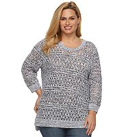 Plus Size Croft & Barrow® Open-Work High-Low Sweater