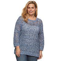 Plus Size Croft & Barrow® Open-Work High-Low Sweater