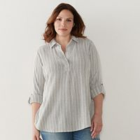 Plus Size SONOMA Goods for Life™ Textured Stripe Roll-Tab Shirt