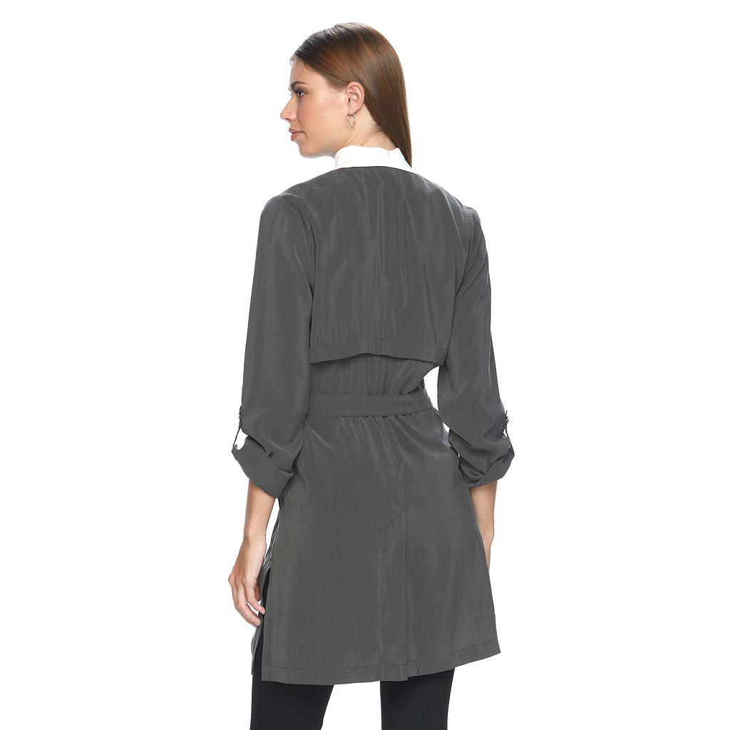Women's Apt. 9® Draped Charmuese Trench Coat