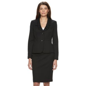 Le Suit Jacquard 2 Button Skirt Suit