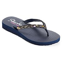 Skechers Meditation Break Water Women's Faceted Stone Yoga Mat Wedge Flip-Flops