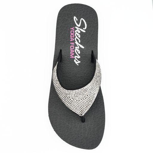Skechers Vinyasa Women's Rhinestone Yoga Mat Wedge Flip-Flops