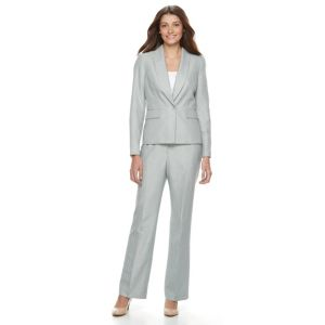 Le Suit Pinstripe 1 Button Jacket Pant Suit