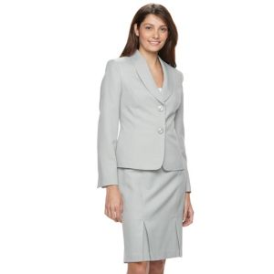 Le Suit Tonal Zig Zag Jacket Skirt Suit