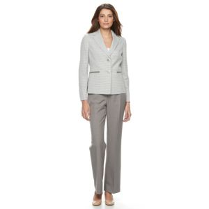 Le Suit Novelty Stripe 2 Button Jacket Pant Suit