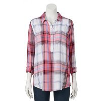 Juniors' SO® Shirttail Henley Tunic