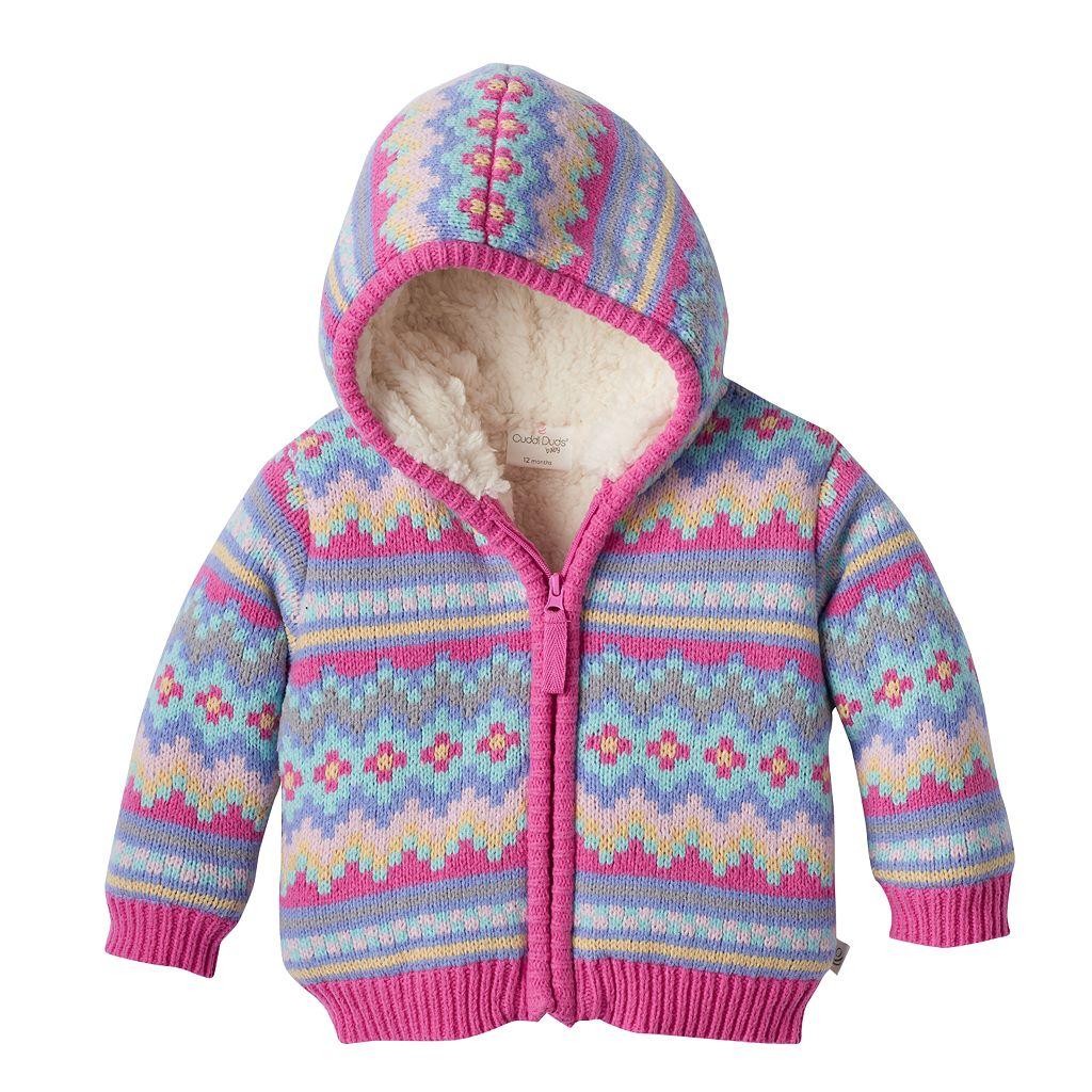 Baby Girl Cuddl Duds Fairisle Sherpa-Lined Hoodie
