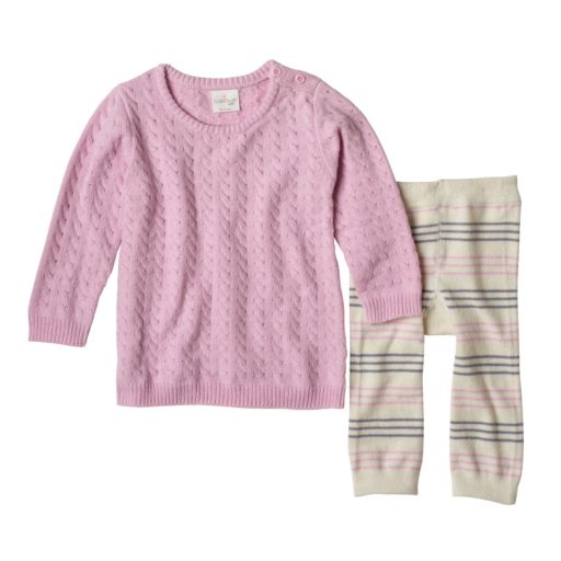 Baby Girl Cuddl Duds Cable-Knit Sweaterdress & Striped Pants Set