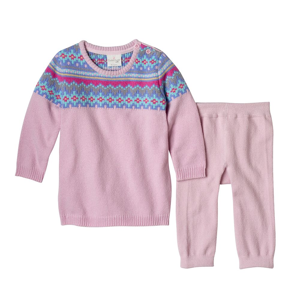 Baby Girl Cuddl Duds Fairisle Sweaterdress & Pants Set