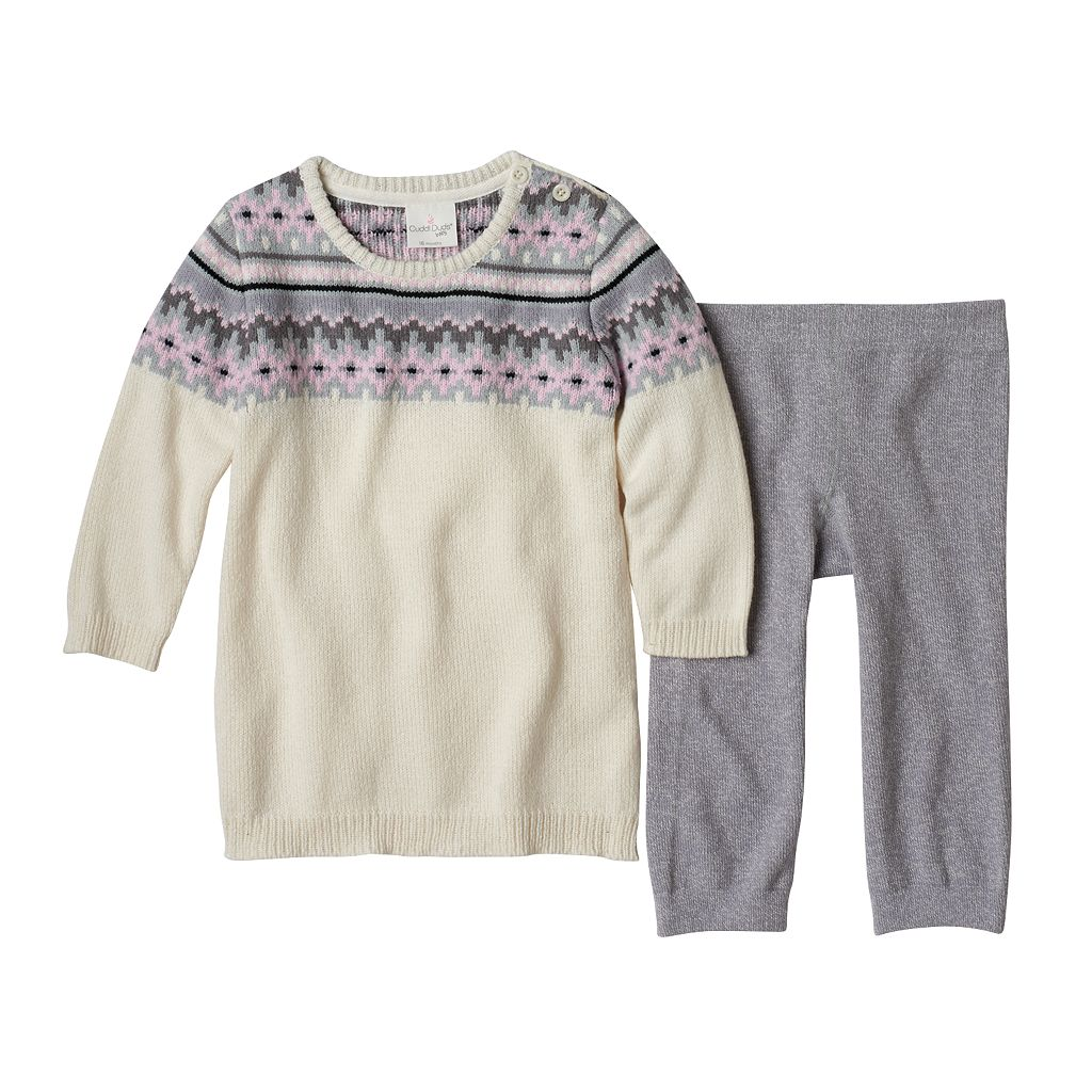 Baby Girl Cuddl Duds Fairisle Sweaterdress & Pants Set