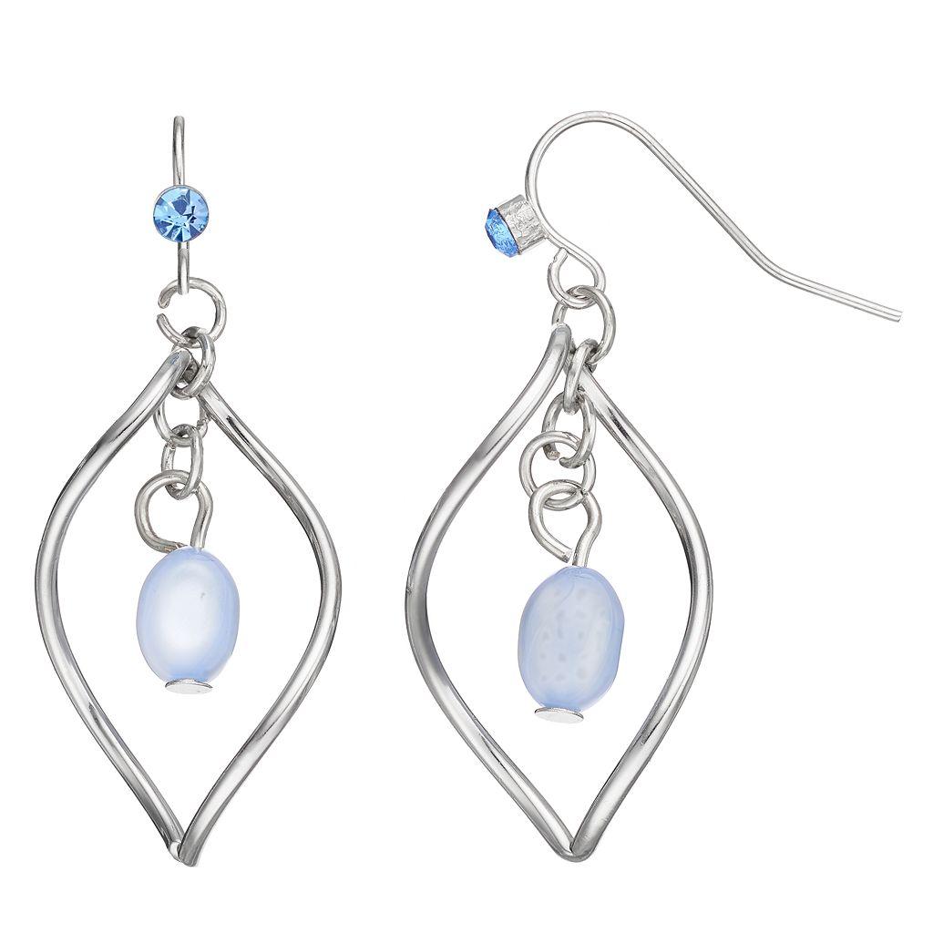 Blue Twisted Marquise Nickel Free Drop Earrings