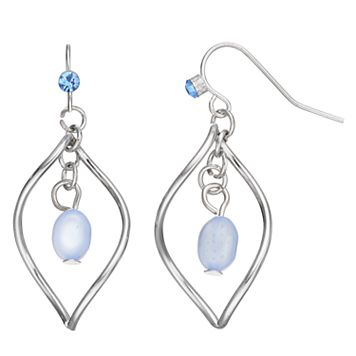 Blue Twisted Marquise Nickel Free Drop Earrings