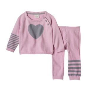 Baby Girl Cuddl Duds Heart Sweater & Striped Pants Set