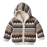 Baby Boy Cuddl Duds Fairisle Sherpa-Lined Hoodie