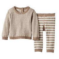 Baby Boy Cuddl Duds Cable-Knit Sweater & Striped Pants Set