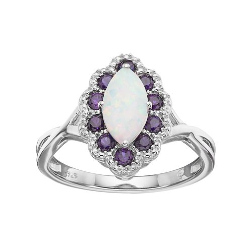 Sterling Silver Lab-Created Opal & Amethyst Marquise Ring